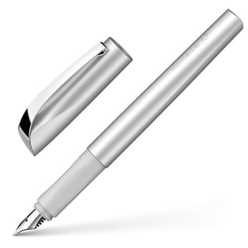 Schneider Ceod Shiny Fountain Pen (Right and Left-Handed, M Nib, incl. Ink cartridge, royal blue) stone grey