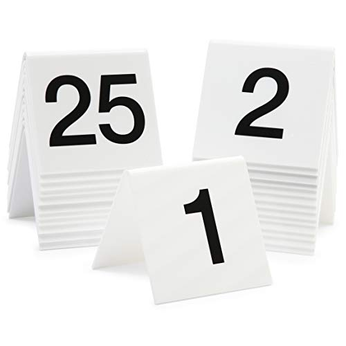 Juvale Acrylic Tent Table Numbers 1-25 (White, 3 x 2.75 x 2.5 in, 25 Pack)