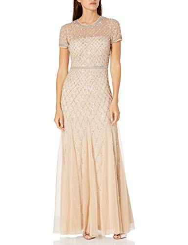 Adrianna Papell Women's Short-Sleeve Beaded Mesh Gown, Champagne, 2 (Apparel)