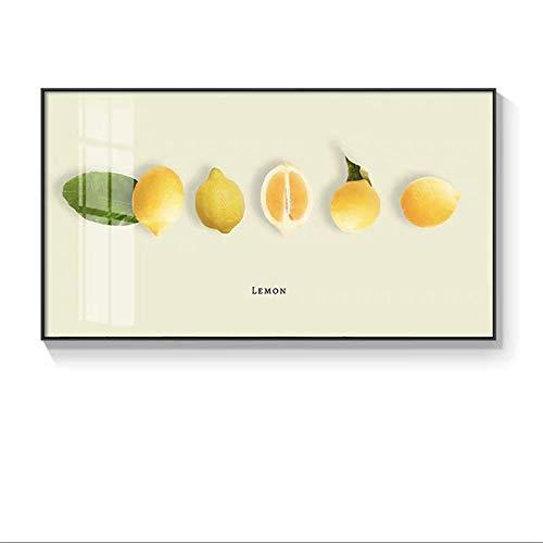 ノルディックレストランオレンジレモンアボカドフルーツ美術ポスター&プリントクアッドロスウォールアートリビングルームの家の装飾(フレームなし) (Color : D, Size (Inch) : 40x70cm(No Frame))
