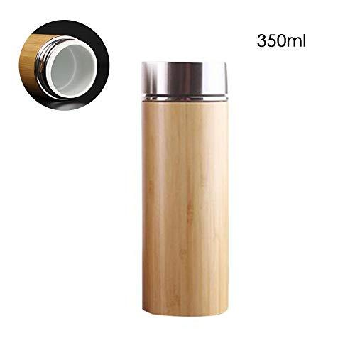 Fllyingu Wiederverwendbarer Bambusreisebecher Vakuumisolierte Flasche Thermoskanne Isolierte Bambusflasche Auslaufsicher Idealer Obst- Und Tee-Aufguss BPA-FREI