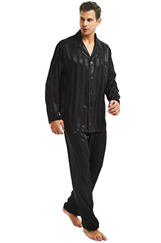LONXU Mens Satin Long Button-Down Pajamas Set, Stripped PJ, S~4XL