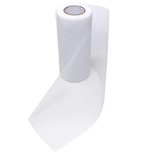 Sparkling Glitter Tulle Fabric Ribbon Roll Sparkle Mesh Ribbon 6 Inch Width 25 Yard Length for Tutu Skirt Wedding Decoration Table Runner (White)