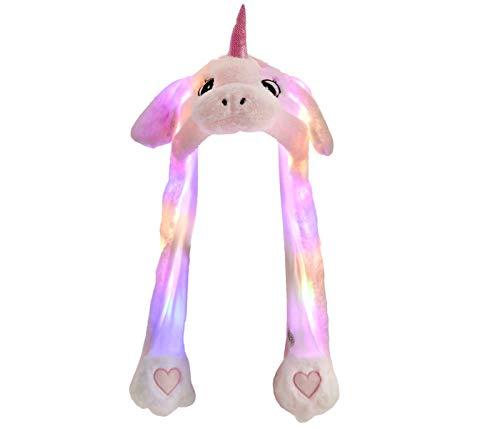 Alsino Wackelohr Mütze mit LED Beleuchtung Einhorn Plüsch Party Verkleidung Tiermütze Partyhut lustig mit beweglichen Ohren für Damen, Rosa