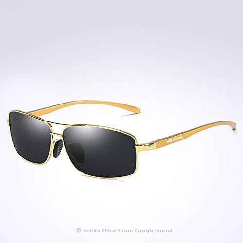 Gafas de sol polarizadas para hombre, estilo vintage, retro, cuadradas, clásicas para hombres, lentes de sol para hombres (color: dorado)