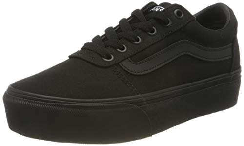 Vans Damen Ward Platform Sneaker, Canvas Schwarz Schwarz, 38 EU