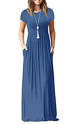 AUSELILY Women Short Sleeve Loose Plain Casual Long Maxi Dresses with Pockets (XL, Beja Blue)