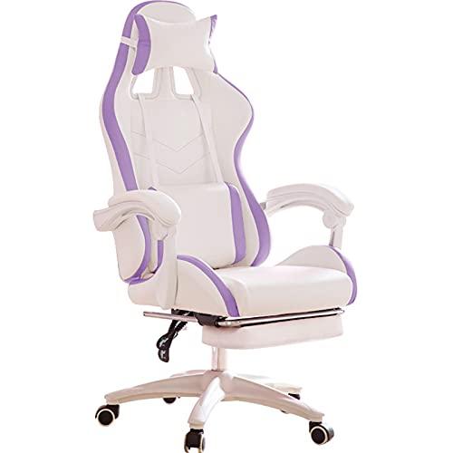 HXJU Silla de juegos, ergonómica para computadora, silla de oficina con silla reclinable con reposacabezas y soporte lumbar, silla de videojuegos, para adultos, adolescentes, escritorio, color morado