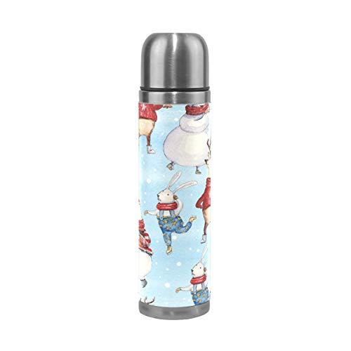 TIZORAX Oso de Navidad conejo ciervo doble pared taza de vacío aislada botella de agua de acero inoxidable taza de viaje termo taza de café 17 oz