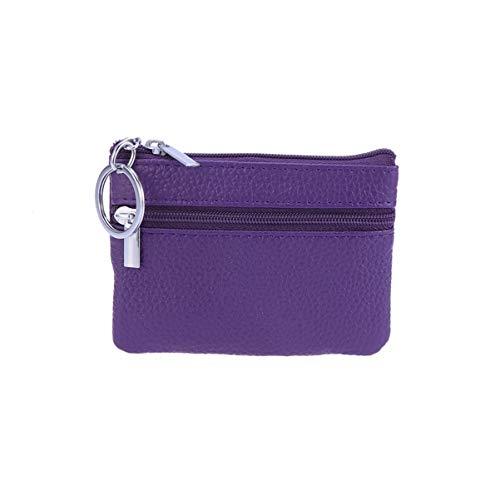 Vosarea sac de rangement en cuir zippé multifonctionnel mini sac de rangement (violet)