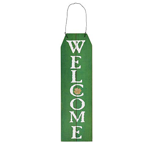 NIKKY HOME St Patrick#039s Day Decoration Door Sign Irish Hanging Vertical Welcome Green Shamrock Clover Wood Decor for St Patricks Day Party 45 x 16 Inches