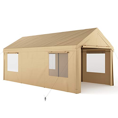 Carport, 10x20ft Heavy Duty Carport with Removable Sidewalls & Doors, Portable Garage for Auto, Boat & Market stall, Car Tent with Windows, Car Canopy for Party & Wedding, UV-Resistant Tarp, Beige