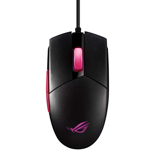 ASUS Optical Gaming Mouse - ROG Strix Impact II Electro Punk Edition | 6,200 DPI Sensor | Wired Gaming Mouse for PC | Ultimate Comfort | Aura Sync RGB, Armoury II