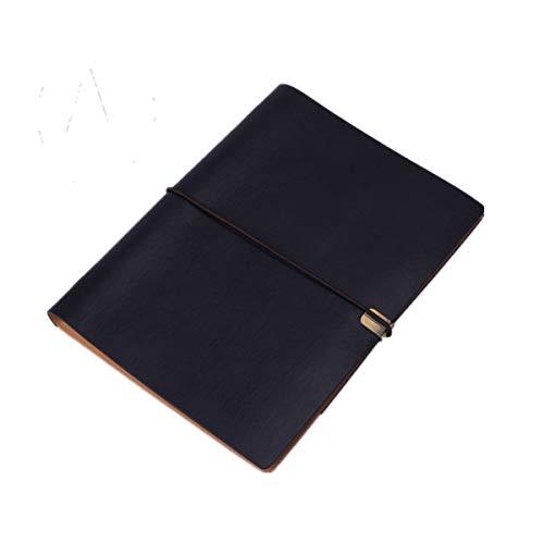 BLEUNUIT Cuaderno de Notas, Cubierta de Cuaderno de Cuero PU, Cuaderno Espiral A5, planificador, Organizador, Cuaderno, Diario de Viaje, Diario, 6 Carpetas de Anillas, papelería-F