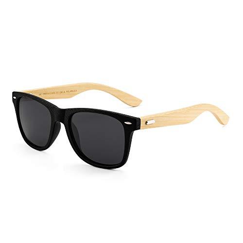 GLINDAR Holz Polarisierte Sonnenbrille für Männer Frauen Retro quadratische Gläser UV400-Schutz (Schwarzer Rahmen/Polarisierte graue Linse)