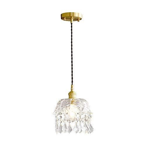 GUOSHUCHE Lámpara colgante pequeña de latón de cristal, lámpara de noche, lámpara de pasillo de pasillo de pasillo y lámpara de cristal de salón (20 x 23 cm, puerto de rosca E27) elegante decoración