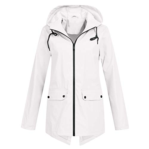 Aniywn Women Rain Jacket Lightweight Breathable Raincoats Waterproof Active Outdoor Hooded Trench Coats with Zipper White