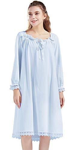 Nanxson Damen Baumwolle Nachthemd Langarm Nachtwäsche Vintage Viktorianisch Nachtkleid Schlafanzug (M, Blau-23)