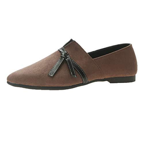 YWLINK Frauen Flats Schuhe Espadrilles Sommermode Damen SüßE Bogen Ballett Elegant Volltonfarbe Freizeit Schuhe Pointed Toe Loafers(A Khaki,39EU)