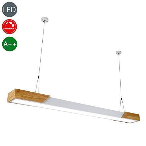 LED Moderne dimbare hanglamp houten lamp hanglamp voor eettafel woonkamer keuken studie hanglamp in hoogte verstelbaar langwerpig design ultradun acryl lampenkap plafondverlichting 36W L122 cm