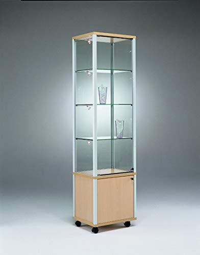 MHN Exclusive Glasvitrine abschließbar mit Unterschrank 50 x 50 cm mit Spiegelrückwand/auf Standfüßen