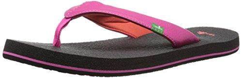 Sanuk Kids Girl's Yoga Mat Flip Flop , Hot Pink/Red, 7/8 M US Toddler