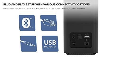 Creative T100 Altoparlanti desktop Hi-Fi 2.0 compatti, con potenza di picco di 80W con Bluetooth 5.0, ingresso ottico, ingresso AUX, per computer e laptop (nero)
