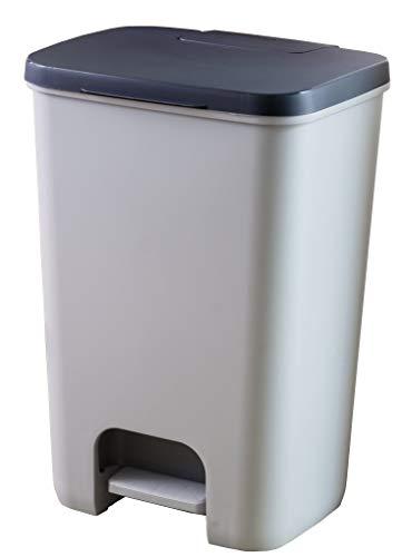 CURVER | Poubelle à pédale essentials 20L, Gris/Anthracite, 30,3 x 29,4 x 42,8 cm, Plastique