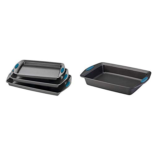Rachael Ray Bakeware Nonstick Cookie Pan Set, 3-Piece, Gray & Ray Yum -o! Nonstick Bakeware Baking Pan With Grips / Nonstick Cake Pan With Grips, Rectangle - 9 Inch x 13 Inch, Gray