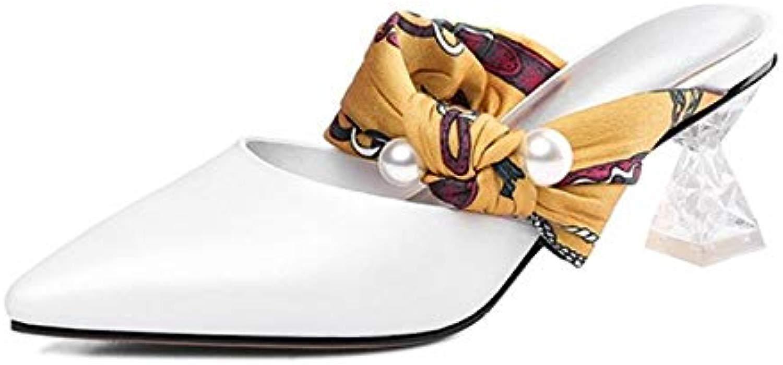 LFDGGX Pantofole da Donna in Pelle Ribe Sautope da Donna con Tac  verdeiginosi in Cristtuttio