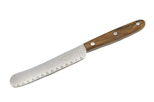 Siebeneicher-Hellwig KATAHIRO Zen - Buckelmesser - Buttermesser, Brotzeitmesser und Küchenmesser im modernen Stil eines ursprünglichen Solinger Messers aus VG 10 Damaststahl (Olivenholz)