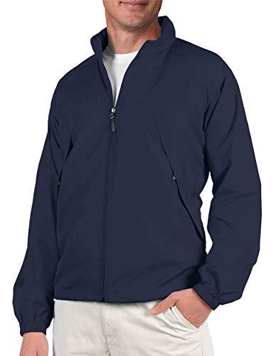 Model wearing men's windbreaker travel jacket.
