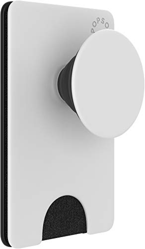 PopSockets PopWallet+: Swappable and Repositionable Wallet - White Black