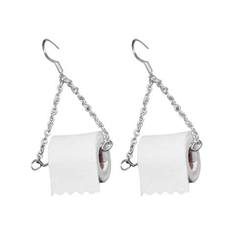 Toilettenpapier Ohrringe Einzigartige Rolle Papier Ohrrolle Papier Ohr Ohrentropfen Kreative Frauen Ohrhaken Einfache Rolle Papierhandtuch Damen handgemachte Schmuck Geschenk (Weiß)