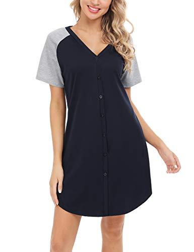 Aiboria Camisón de Mujer Cuello en V Manga Larga Corta Algodón Ropa de Maternidad Dormir con Botón Pijama Vestido Casual Comodo