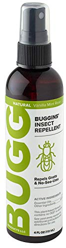 Buggins Natural Insect Repellent, DEET-Free, Repels Gnats & Flies, Plant Based, Vanilla Mint & Rose...