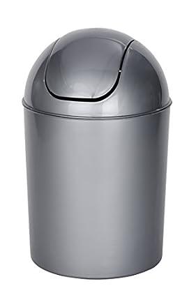 WENKO Cubo con tapa oscilante Economic gris Capacidad: 6 l, Polipropileno, 20 x 30 x 20 cm, Gris