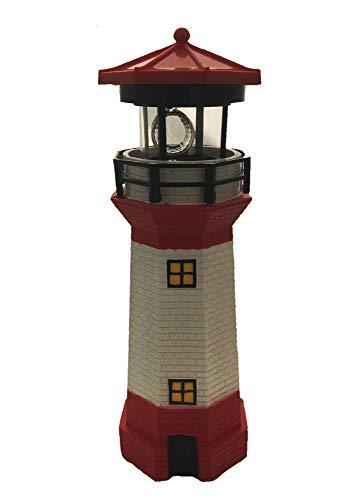 Top Ten Handels GmbH Leuchtturm rot weißer Turm Höhe ca. 28 cm Ø 9 cm Solar LED Leuchtfeuer Signal Gartendekoration
