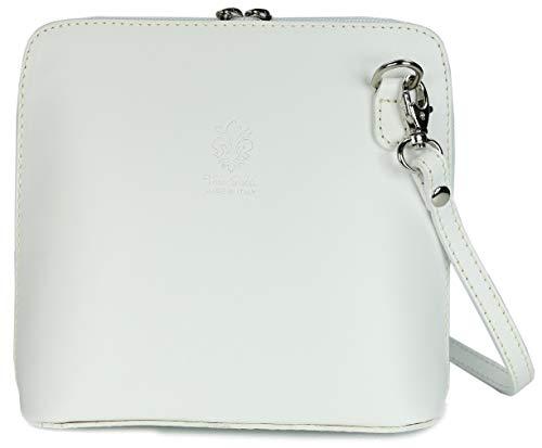Belli ital. Ledertasche Damen Umhängetasche Handtasche Schultertasche - 17x16,5x8,5 cm (B x H x T) (Weiß)