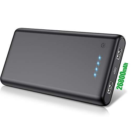 QTshine Batterie Externe 26800 mAh, [Meilleure Service de 2 Ans] Power Bank Portable Chargeur Ultra-Grande Capacité Batterie de Secours 2 Ports USB Sortie Compatible avec Smartphones/Tablettes