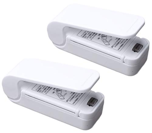 Ldawy Folienschweißgerät, Mini Bag Sealer, Hand-Folienschweißgerät, Vakuumierer, 2 Stücke Hand-Heißsiegelgerät für Plastiktüten Aufbewahrungssnack für frische Snacks (Weiß)