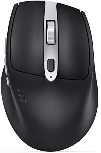 seenda Bluetooth Maus, Bluetooth 5.0/2.4 GHz Verbindung via Unifying USB-Empfänger, 1000-1600-2400 DPI, Wiederaufladbare Akku, Multi-Device, 7 Tasten, Kabellose Maus für alle Oberflächen