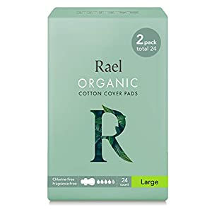 Rael Organic Cotton Menstrual Pads - Ultra Thin & Light Natural Sanitary Napkins with Wings (2 Pack)