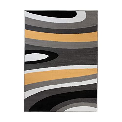 TAPISO Maya - Alfombra Moderna para salón de Color Amarillo y Gris con Ondas abstractas, de Pelo Corto, 120 x 170 cm