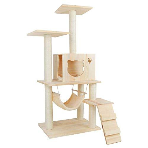 Dsnmm Kattenkrabpaal met meerdere niveaus, klimmen, kattentoren met platform-kleerhangers, speelhuisje voor huisdieren, meubels, activiteitencentra, van hout, Hout.