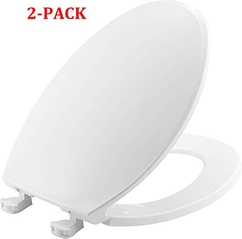 1800EC 000 Toilet Seat with Easy Clean & Change Hinges, Elongated, White (Elongated, White (2-Pack))