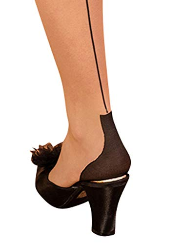 What Katie Did Cuban Heel Glamour Seamed Stockings Champagne/Black (Medium Large (5ft 5 to 5ft 11 120-175lbs))