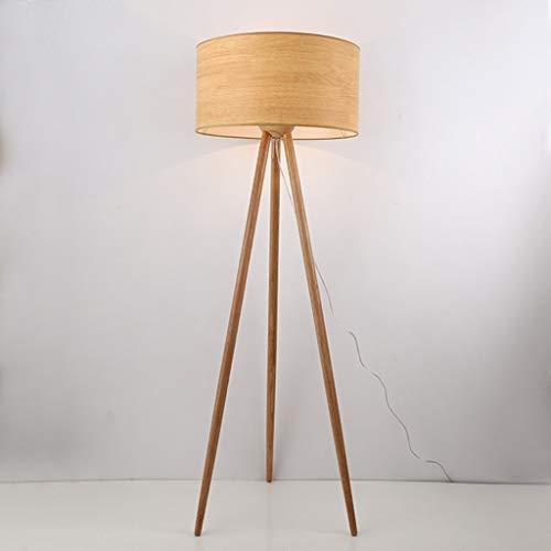 Cxwcy Nueva lámpara de pie Wood Art Nordic Home Lámpara de pie Creative Simple Lámpara de pie de Tres Patas Lámpara de pie de Dormitorio Lámpara estándar