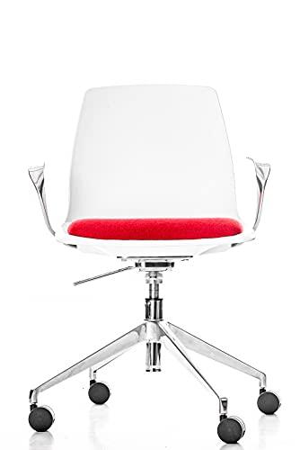 Jet-line Silla de oficina giratoria Charlotte, color blanco y rojo