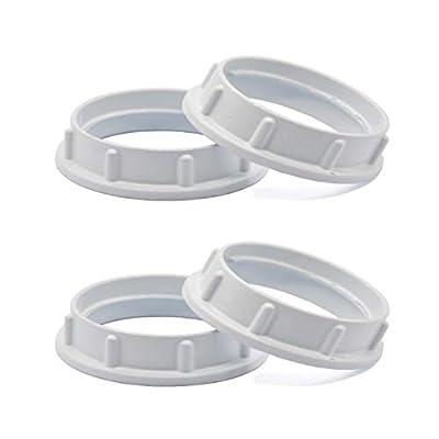 Light Socket Shade Rings,Aluminum Threaded Socket Ring for Medium Base E26 Sockets,Retaining Rings for Glass Lamp Shades/Light Fixtures (4-Pack White Color/For Thread Diameter 1-1/2 Inches